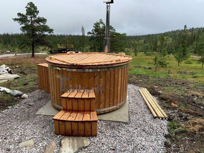 Badestamp i glassfiber med integrert ovn termo tre, sibirsk eik Wellness Royal, Bjørn, Sundtjønn Veggli, Norge (2)